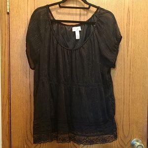 Shimmery & Sheer Lacy short sleeve blouse Venezia